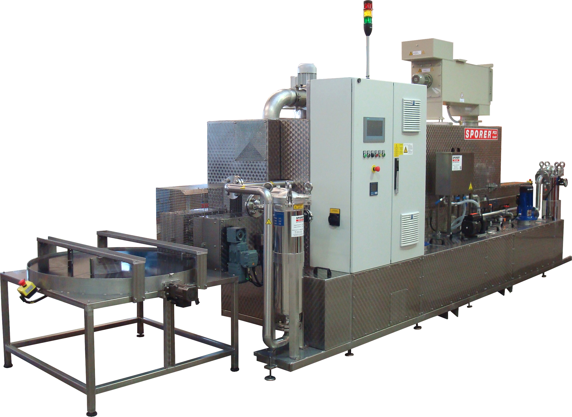 Robot-loaded continuous cleaning system cleaning/rinsing/drying with buffer turntable