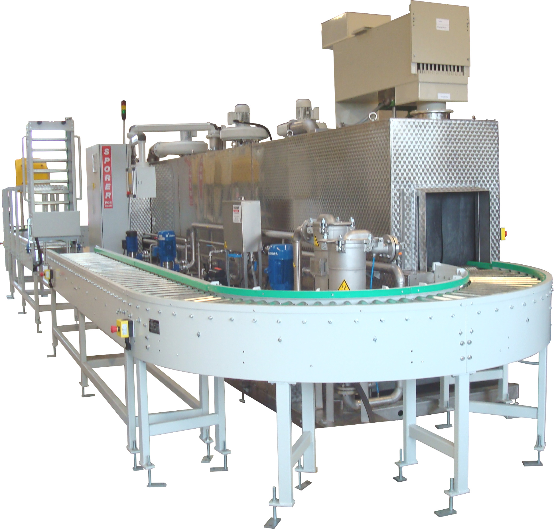 Continuous cleaning system cleaning / rinsing / rinsing / drying with circulating conveyor belt