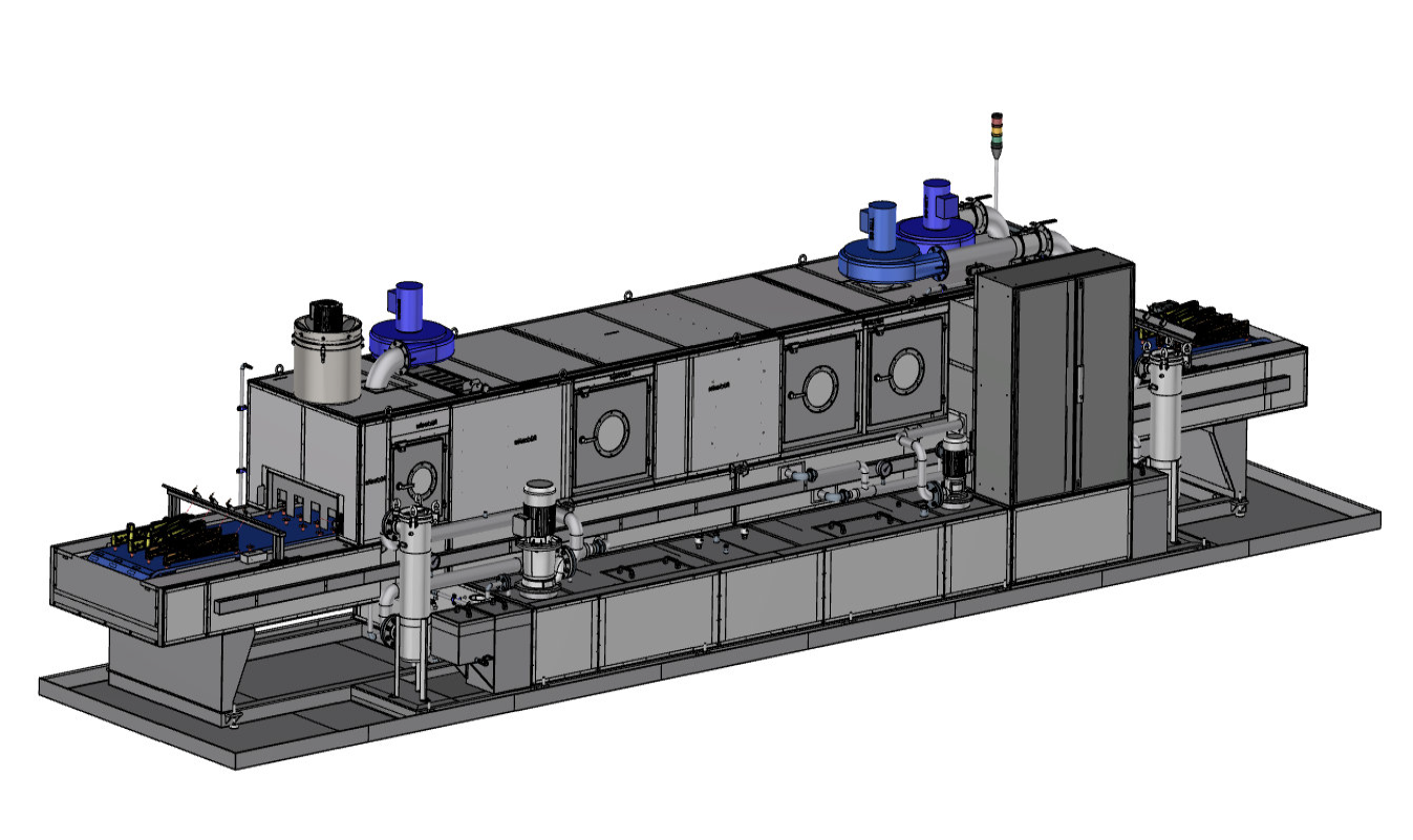 Robot-loaded continuous cleaning system cleaning / rinsing / drying with special component fixtures