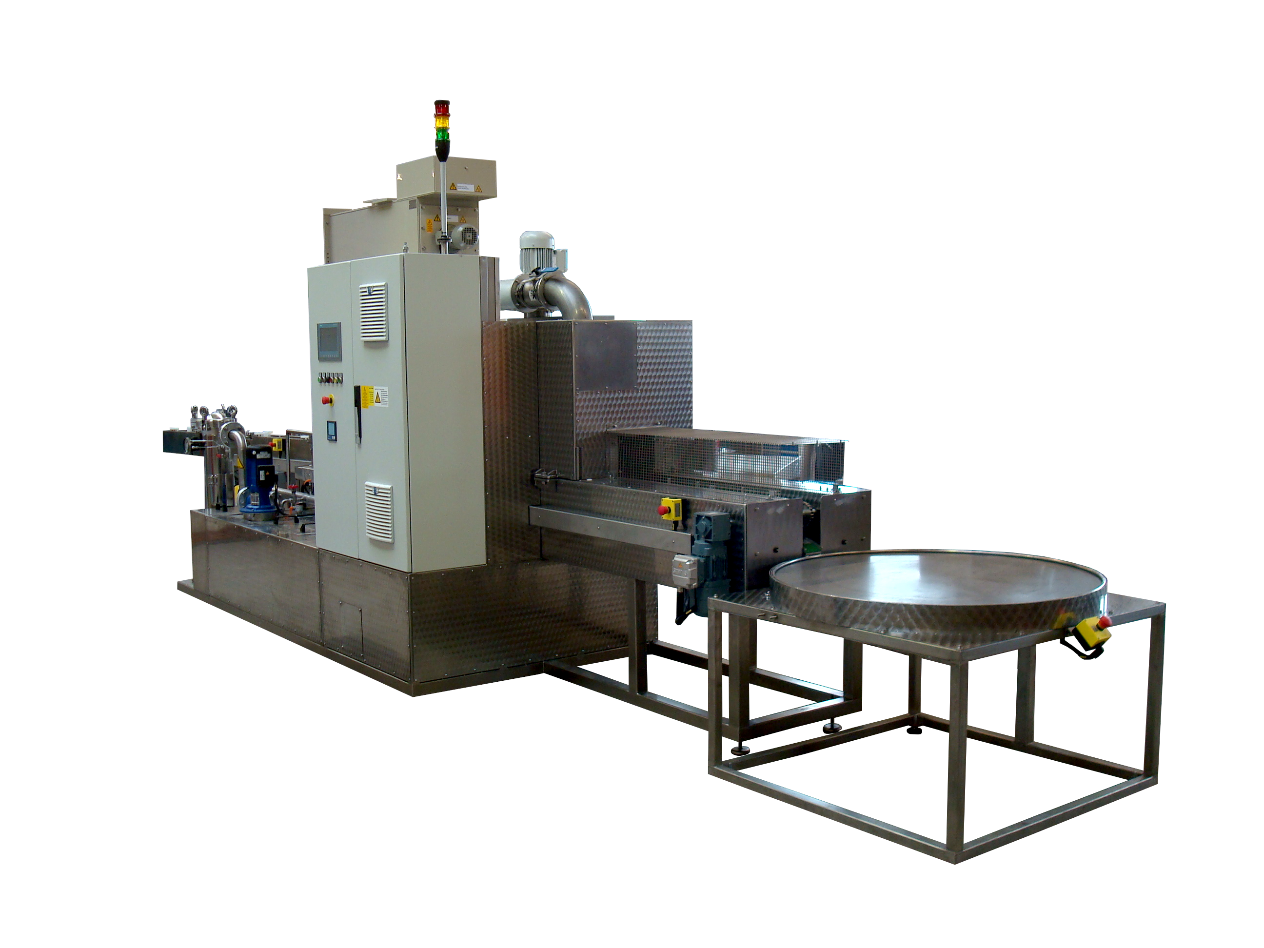 Robot-loaded continuous cleaning system cleaning/drying with buffer turntable